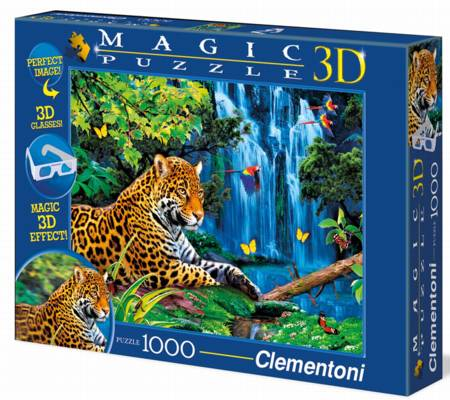 Jigsaw Puzzle - Jaguar Jungle (#39284) - 1000 Pieces 3-D Clementoni