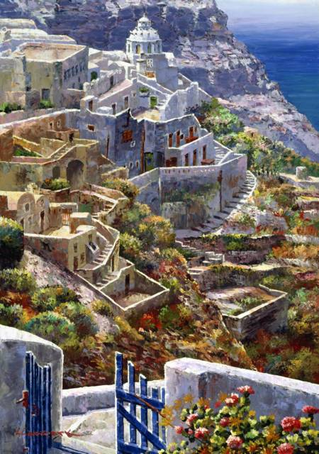 Wooden Jigsaw Puzzle - Above Santorini (751805) - 250 Pieces Wentworth