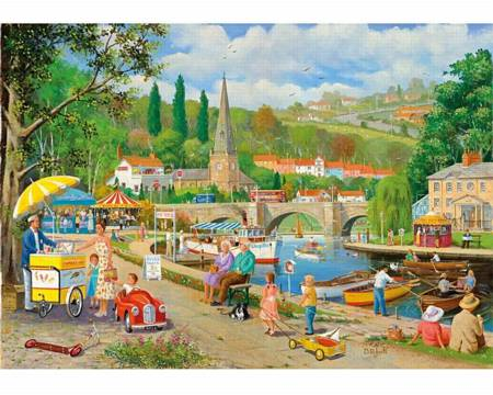 Wooden Jigsaw Puzzle - A Day by the River (871905) - 500 Pieces