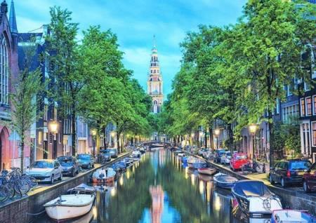 Jigsaw Puzzle -  Amsterdam Canal at Dusk (#17676) - 1500 Pieces Educa