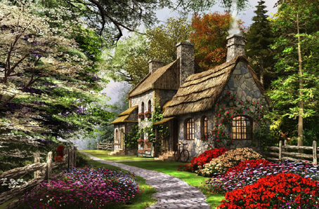 Wooden Jigsaw Puzzle - Carnation Cottage - 250 Pieces Wentworth