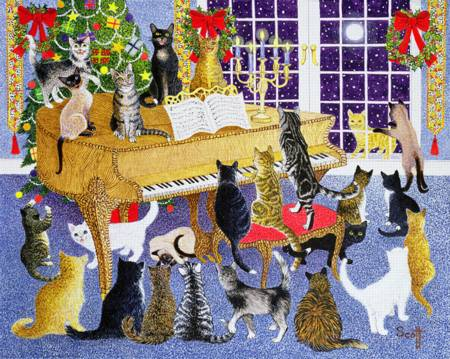 Wooden Jigsaw Puzzle - Cat Christmas Chorus (#117528359) - 250 Pieces