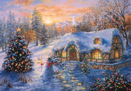 Wooden Jigsaw Puzzle - Christmas Cottage (#731602) - 1000 Pieces