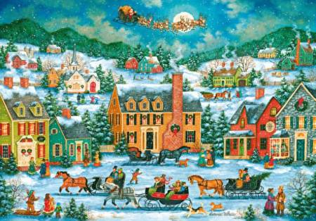 Wooden Jigsaw Puzzle - Christmas Eve Fly By (#810601) - 1000 Pieces