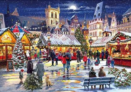 Wooden Jigsaw Puzzle - Christmas Market (890701) - 1000 Pieces Wentworth