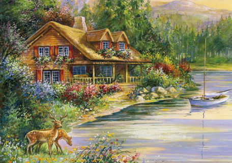 Wooden Jigsaw Puzzle - Deer Creek Cabin - 1000 Pieces Wentworth