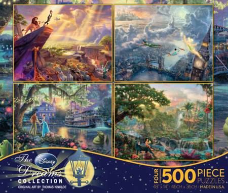 Thomas Kinkade Jigsaw Puzzle - 4 in 1 Disney Collection (3663-1) - 500 Pieces x 4
