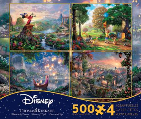 Thomas Kinkade Jigsaw Puzzle - 4 in 1 Disney Collection (3666-1) - 500 Pieces x 4