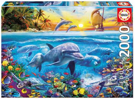 Jigsaw Puzzle - Family of Dolphins (#17672) - 2000 Pieces Educa
