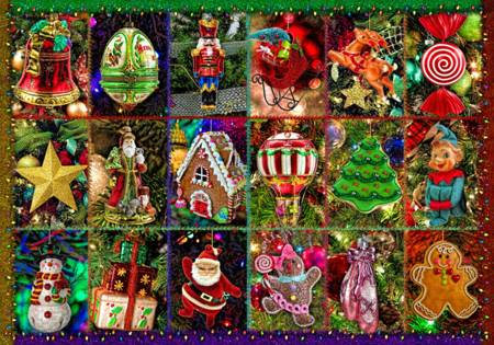 Wooden Jigsaw Puzzle - Festive Ornaments (#730701) - 250 Pieces