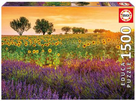 Jigsaw Puzzle -  Fields of Sunflowers and Lavender (#17669) - 1500 Pieces Educa