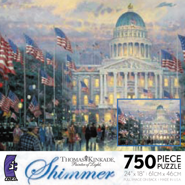 Thomas Kinkade Jigsaw Puzzle - Flags Over the Capital - 750 Ceaco  (Shimmer