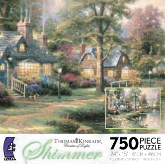 Thomas Kinkade Jigsaw Puzzle - Hometown Lake - 700 Pieces Ceaco  (Panoramic)