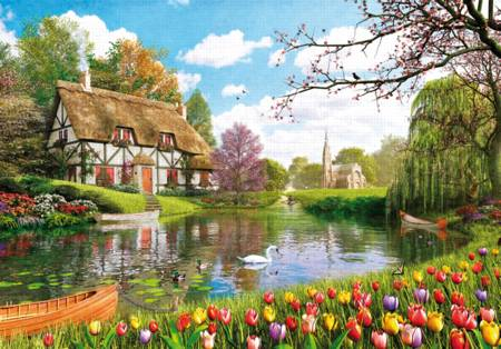 Wooden Jigsaw Puzzle - Lakeside Cottage (#710902) - 250 Pieces