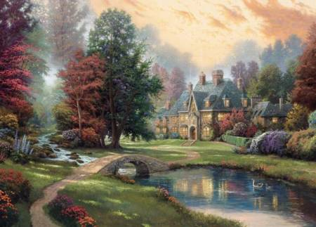 Thomas Kinkade Jigsaw Puzzle - Lakeside Manor (3310-81) - 1000 Pieces Ceaco