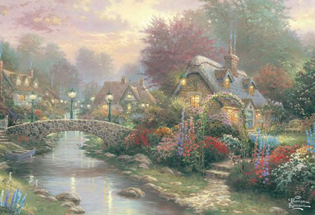 Thomas Kinkade Jigsaw Puzzle - Lamplight Bridge - 300 Pieces 3D Effect  Ceaco