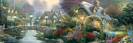 Thomas Kinkade Jigsaw Puzzle - Lamplight Bridge - 700 Pieces Ceaco  (Panoramic)