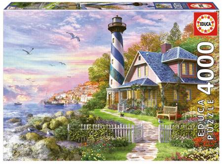 Jigsaw Puzzle - Lighthouse at Rock Bay (#17677) - 4000 Pieces Educa
