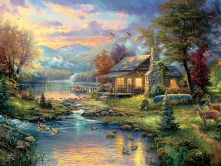 Thomas Kinkade Jigsaw Puzzle - Nature`s Paradise (#1148-9) - 750 Pieces Ceaco (Metallic)