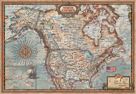Jigsaw Puzzle - North American Map (#15377) - 1000 Pieces Clementoni