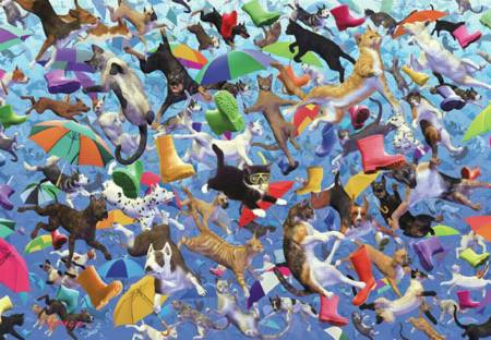 Wooden Jigsaw Puzzle - Raining Cats and Dogs (#582713) - 1000 Pieces