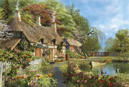 Wooden Jigsaw Puzzle - Riverside Home in Bloom (#620702) - 500 Wentworth