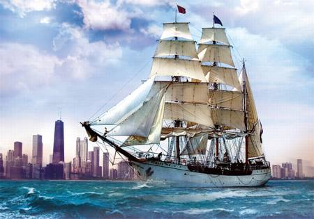 Jigsaw Puzzle - Sailing Towards Chicago (37120) - 500 Pieces Trefl