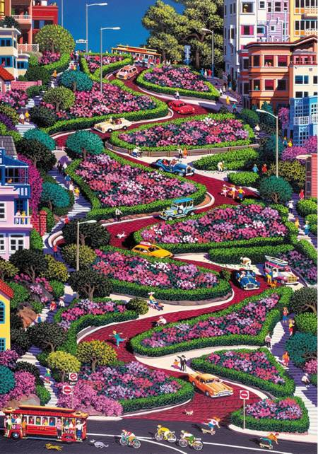 Wooden Jigsaw Puzzle - San Francisco Lombard Street (#782305) - 500 Pieces