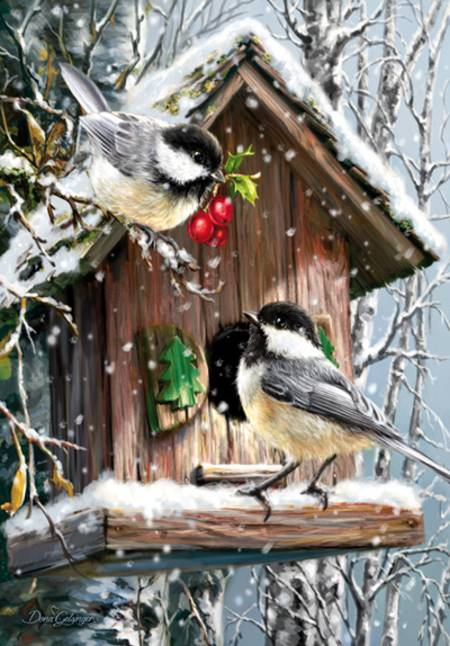 Wooden Jigsaw Puzzle - Snow Birds (#731306) - 250 Pieces
