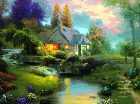 Thomas Kinkade Jigsaw Puzzle - Spring at Creekside Cottage (#2202-27) - 300 Pieces Ceaco