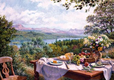 Wooden Jigsaw Puzzle - Summer Lunch Overlooking the Lake - 1000 Pieces  Wentworth