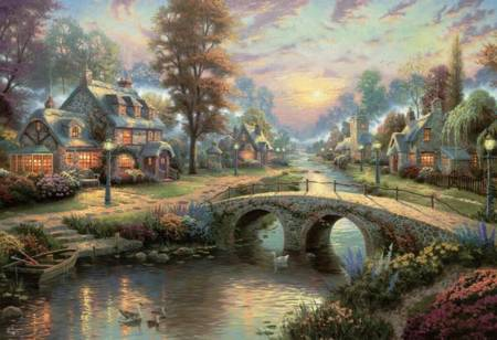 Thomas Kinkade Jigsaw Puzzle - Sunset on Lamplight Lane (3501-15) - 2000 Pieces Ceaco