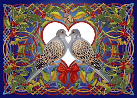Wooden Jigsaw Puzzle - Two Turtle Doves (#810101) - 250 Pieces