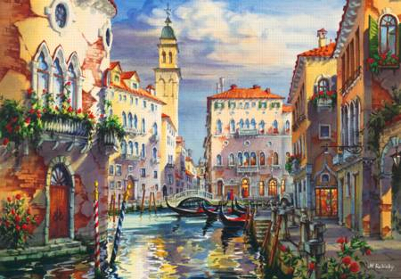 Wooden Jigsaw Puzzle - Venice Before Sunset (#722405) - 250 Pieces