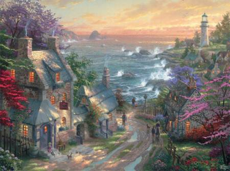 Thomas Kinkade Jigsaw Puzzle - The Village Lighthouse (#3310-58) - 1000 Pieces Ceaco