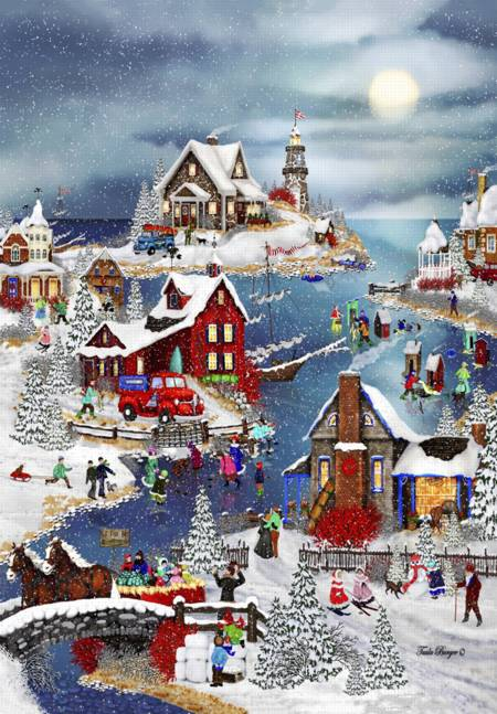 Wooden Jigsaw Puzzle - Winter at Big Fish Bay (#730801) - 250 Pieces