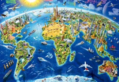 Jigsaw Puzzle - World Landmarks,Globe (#17129) - 2000 Pieces Educa