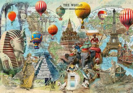Wooden Jigsaw Puzzle - World Montage (#781905) - 250 Pieces